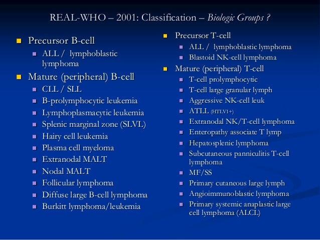 REAL-WHO – 2001: Classification – Biologic Groups ?  Precursor B-cell  ALL / lymphoblastic lymphoma  Mature (peripheral...
