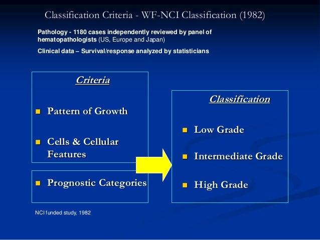 Classification Criteria - WF-NCI Classification (1982) Criteria  Pattern of Growth  Cells & Cellular Features  Prognost...