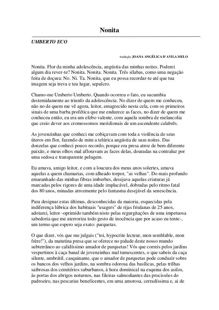 NonitaUMBERTO ECO                                           tradução JOANA ANGÉLICA DAVILA MELONonita. Flor da minha adole...