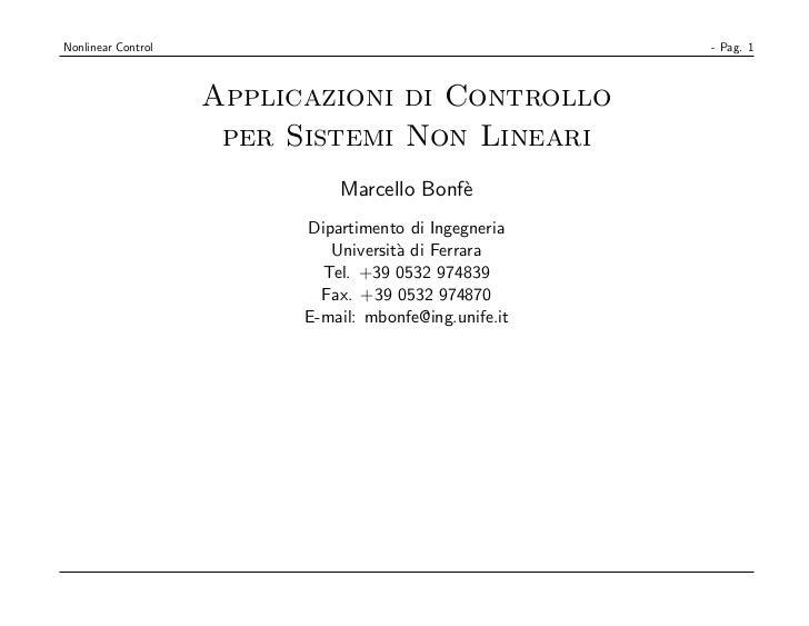 Nonlinear Control                                       - Pag. 1                    Applicazioni di Controllo             ...