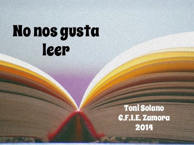 Nonosgusta leer ToniSolano C.F.I.E.Zamora 2014
