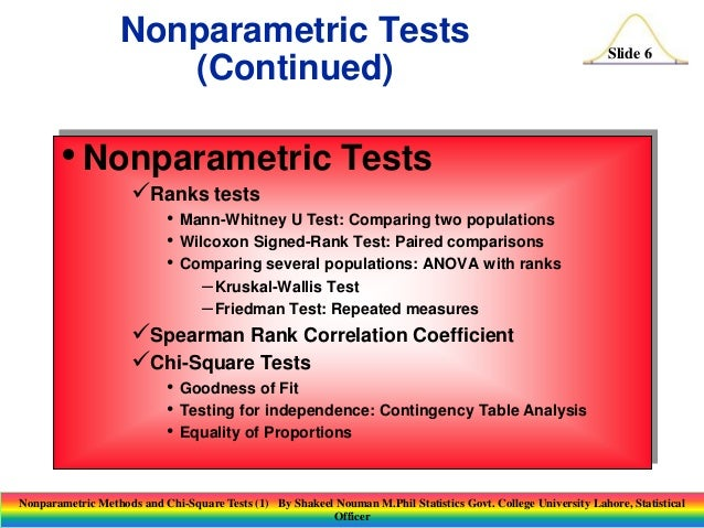 Nonparametric methods and chi square tests (1)