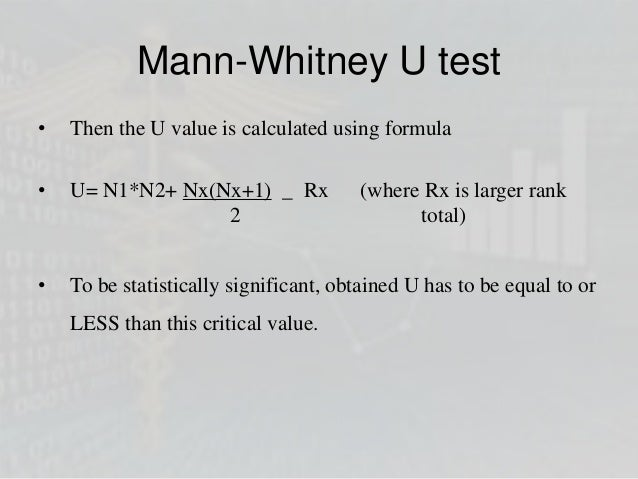 Non parametric tests for Mann whitney u table