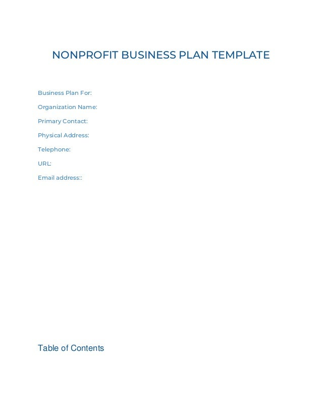 Donorbox nonprofit business plan template nonprofit business plan template business plan for organization name primary contact physical address friedricerecipe Image collections