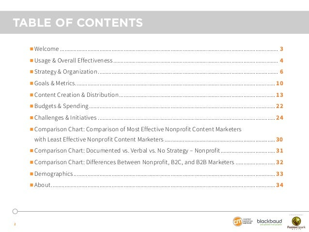 Nonprofit Content Marketing - 2015 Benchmarks, Budgets and Trends - North America by CMI, Blackbaud and sponsored by FusionSpark Slide 2