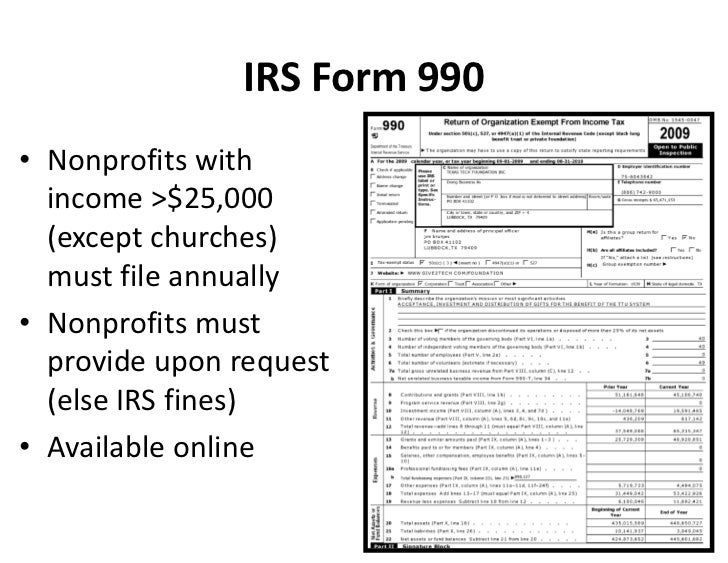 Irs Form 990 Nonprofits With Income 25000 Except Churches Mu