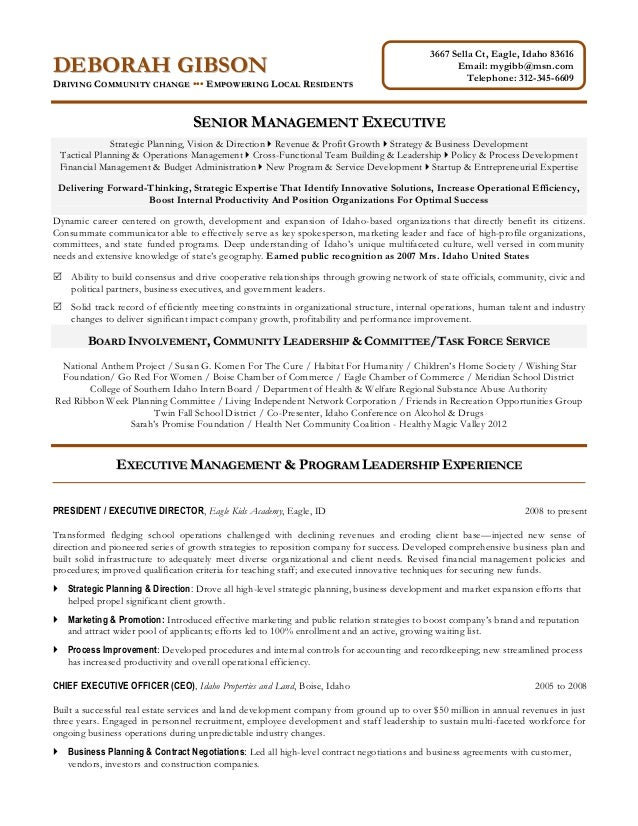 Non Profit Executive Resume. 3667 Sella Ct, Eagle, Idaho 83616 Email:  Mygibb@msn.com Telephone ...