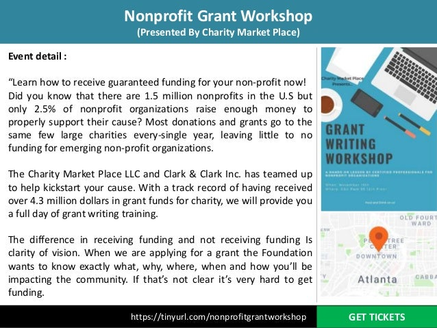 Join Non profit grant workshop on November 15, 2018 at