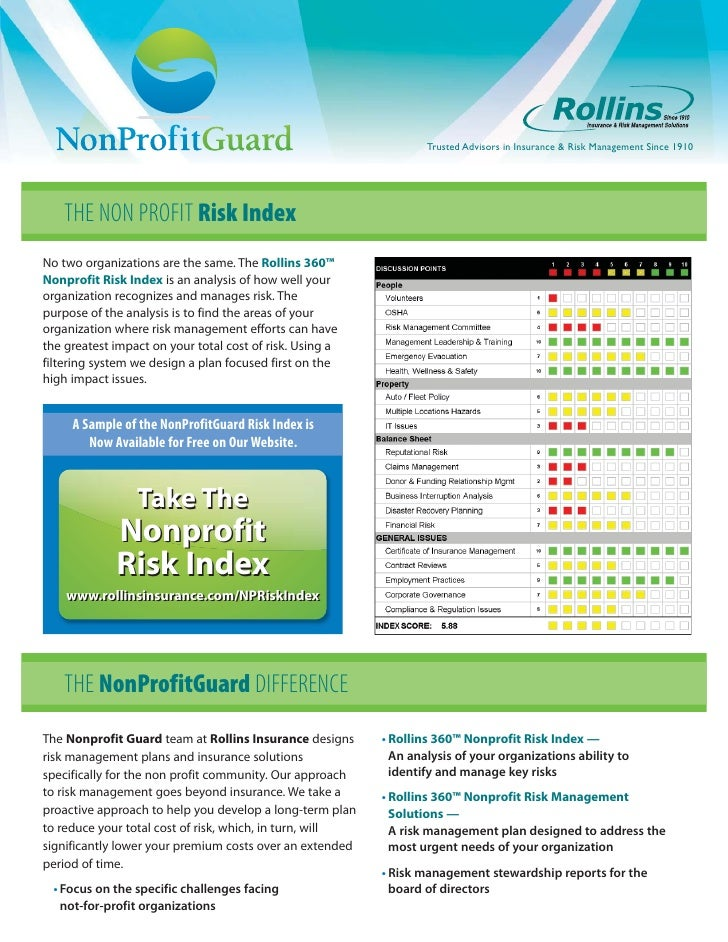 Trusted Advisors in Insurance & Risk Management Since 1910    THE NON PROFIT Risk IndexNo two organizations are the same. ...