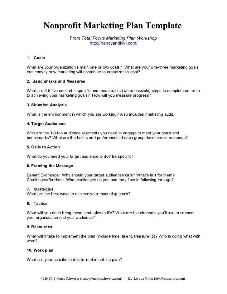 Nonprofit Marketing Plan Template Summary - Non profit organization business plan template