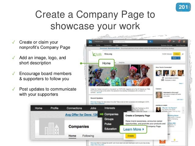 Create a Company Page to showcase your work Home ✓ Create or claim your nonprofit's Company Page ✓ Add an image, logo, and...