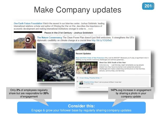 Consider this: Engage & grow your follower base by regularly sharing company updates Only 2% of employees regularly share ...