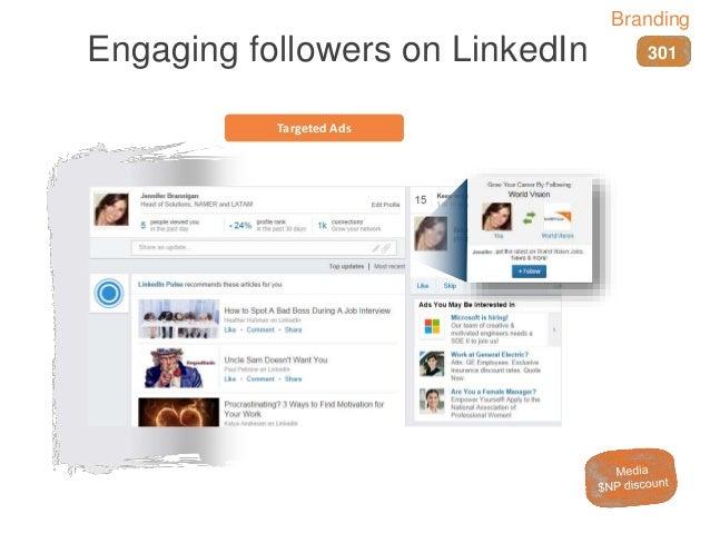 Targeted Ads Engaging followers on LinkedIn 301 Branding