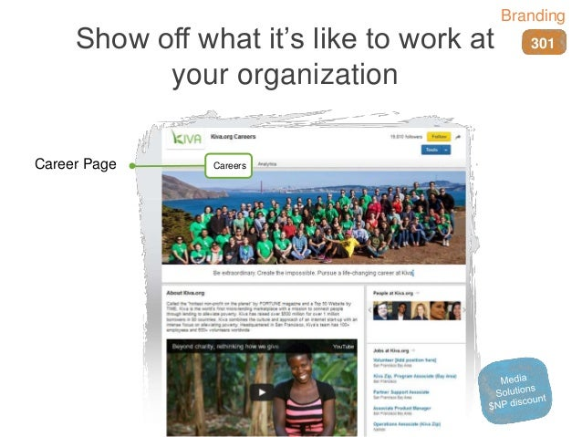 Show off what it's like to work at your organization CareersCareer Page 301 Branding