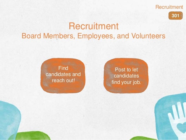 Recruitment Board Members, Employees, and Volunteers 301 Recruitment Find candidates and reach out! Post to let candidates...
