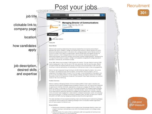 job title job description, desired skills and expertise location Post your jobs clickable link to company page how candida...