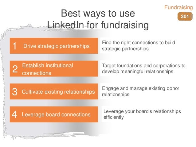 Best ways to use LinkedIn for fundraising Find the right connections to build strategic partnerships Target foundations an...