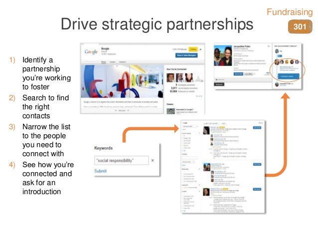 Drive strategic partnerships 1) Identify a partnership you're working to foster 2) Search to find the right contacts 3) Na...