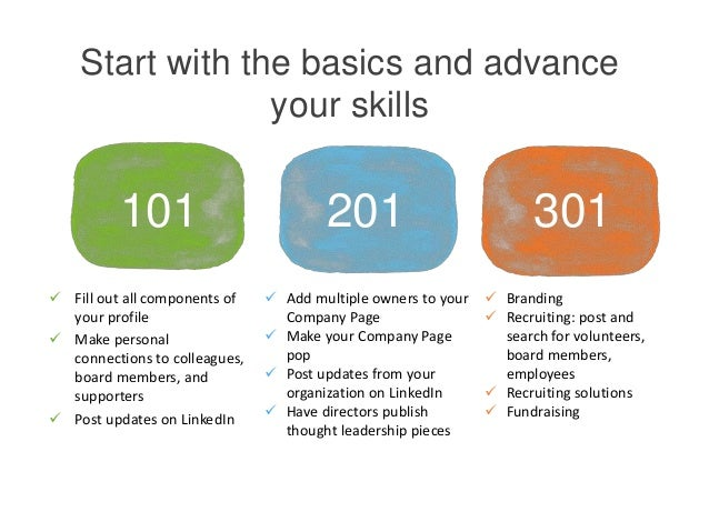 Start with the basics and advance your skills 101 201 301  Add multiple owners to your Company Page  Make your Company P...