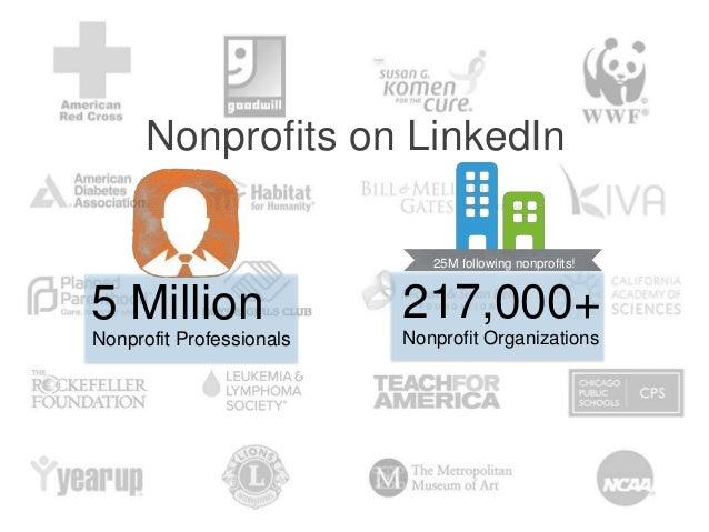 25M following nonprofits! Nonprofits on LinkedIn 5 Million Nonprofit Professionals 217,000+ Nonprofit Organizations