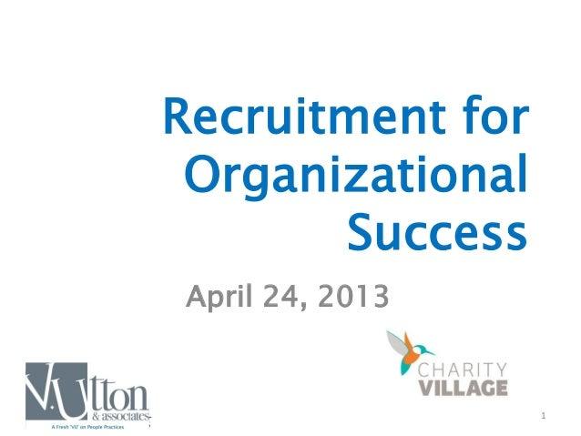 1 Recruitment for Organizational Success April 24, 2013