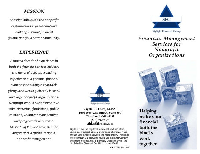 MISSIONTo assist individuals and nonprofit   organizations in preserving and      building a strong financial foundation f...