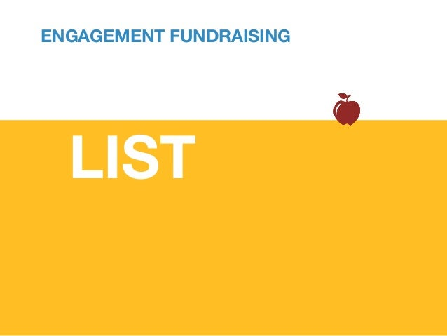 Past giving and affinity history Wealth & demographic screening Who is most likely to act ENGAGEMENT FUNDRAISING