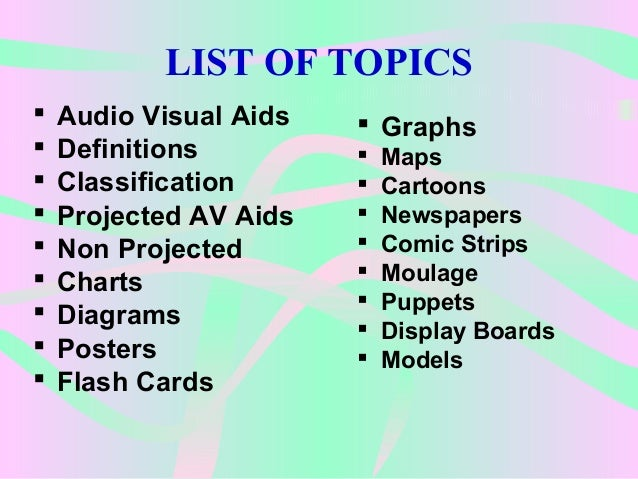 examples of audio visual aids