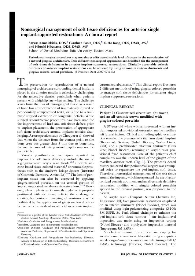 Nonsurgical management of soft tissue deficiencies for anterior single   implant-supported restorations: A clinical report ...
