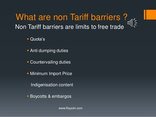 tariff and non tariff barriers in international trade pdf