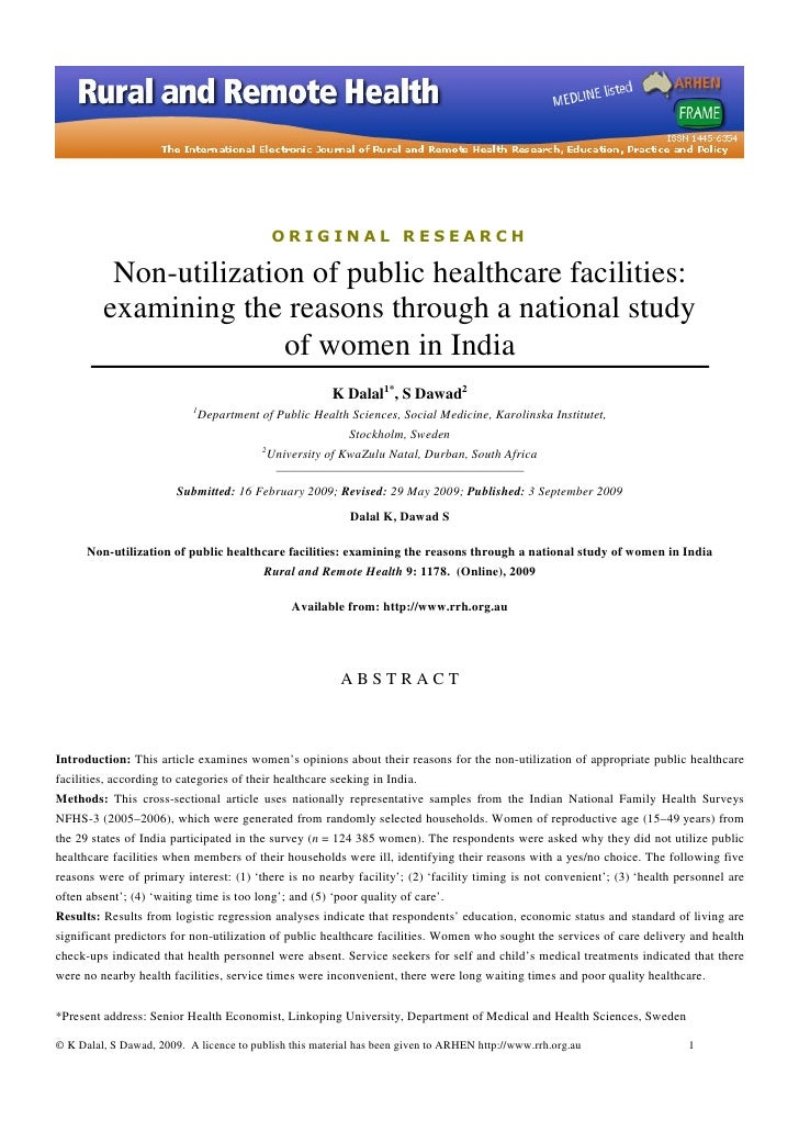 ORIGINAL RESEARCH            Non-utilization of public healthcare facilities:          examining the reasons through a nat...