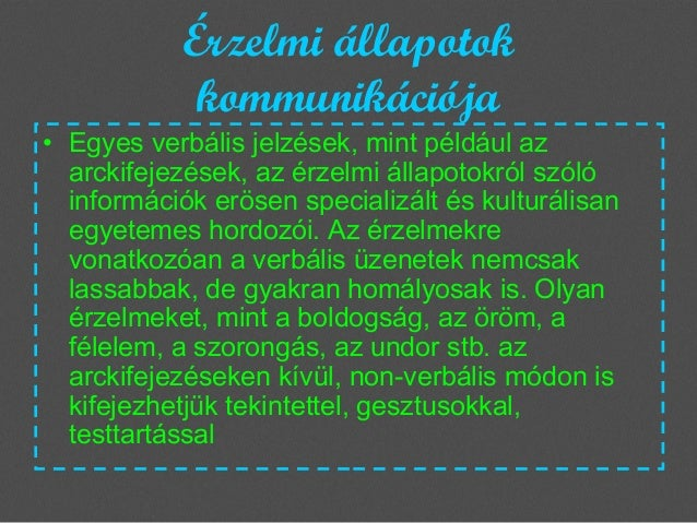 Érzelmi állapotok kommunikációja  • Egyes verbális jelzések, mint például az arckifejezések, az érzelmi állapotokról szóló...