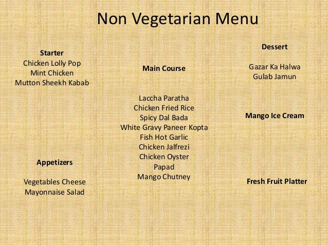 Indian Wedding Non Veg Food Menu