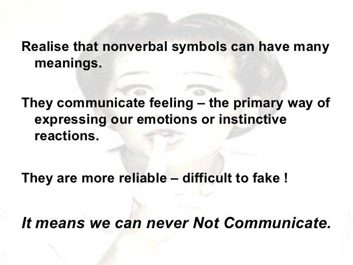 <ul><li>Realise that nonverbal symbols can have many meanings. </li></ul><ul><li>They communicate feeling – the primary wa...