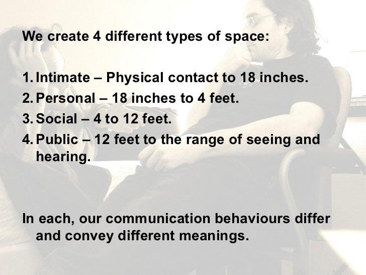 <ul><li>We create 4 different types of space: </li></ul><ul><li>1. Intimate – Physical contact to 18 inches. </li></ul><ul...