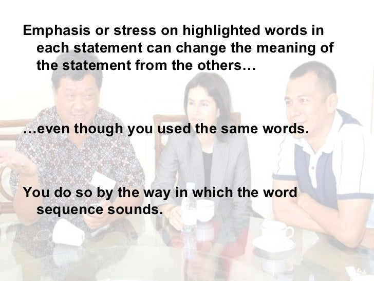 <ul><li>Emphasis or stress on highlighted words in each statement can change the meaning of the statement from the others…...