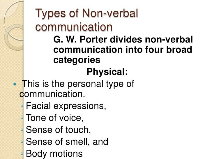 g w porter non verbal communication Right or wrong, the receiver of the communication tends to base the intentions of the sender on the non- verbal cues he receives g w porter divides non-verbal communication into four broad categories.