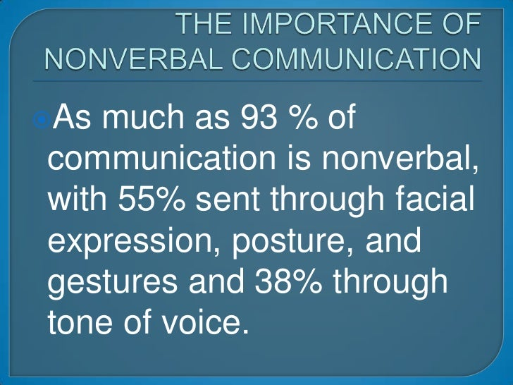 THE IMPORTANCE OF NONVERBAL COMMUNICATION<br />As much as 93 % of communication is nonverbal, with 55% sent through facial...
