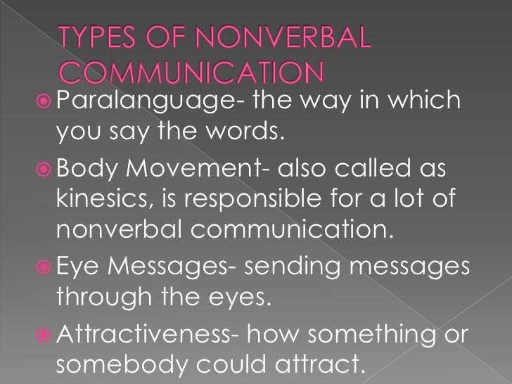 nonverbal communication introduction and types Nonverbal communication noun paragraph  define proxemics and discuss the  types and signifi- cance of  spent communicating in some way, be it verbal,  nonverbal, or written com- munication  the following steps are an intro-  duction to.