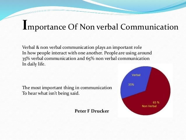 essay on importance of non verbal communication It is more important to understand the non-verbal aspects of communication when people do not speak the same language verbally in conclusion, communication is complex and multifaceted.