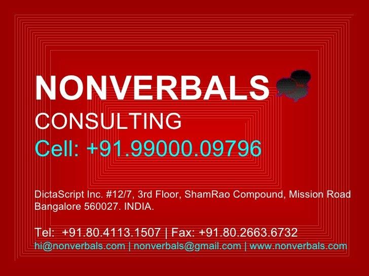india nonverbals 了解nonverbals consulting的工作环境。立即免费加入领英。看看您认识哪些nonverbals consulting 员工,利用人脉力量,成功应聘职位。领英 登录 立即加入 职位 公司.