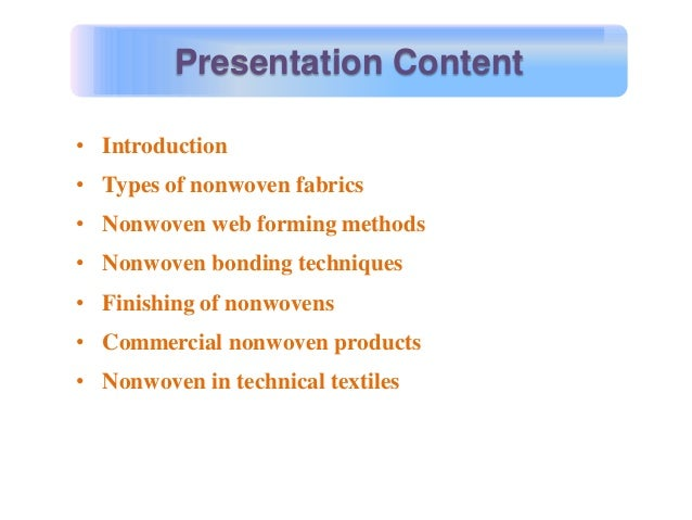 Nonwovens & its applications Slide 2