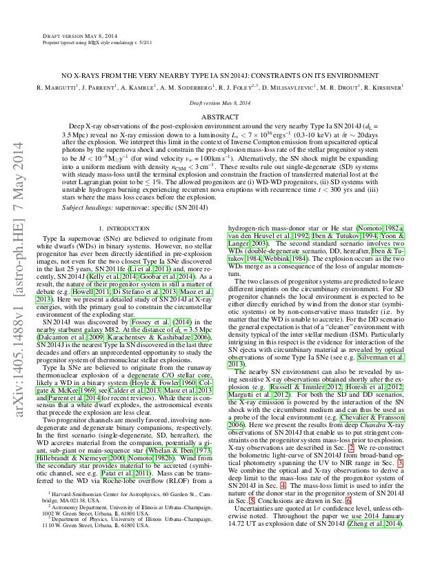 DRAFT VERSION MAY 8, 2014 Preprint typeset using LATEX style emulateapj v. 5/2/11 NO X-RAYS FROM THE VERY NEARBY TYPE IA S...