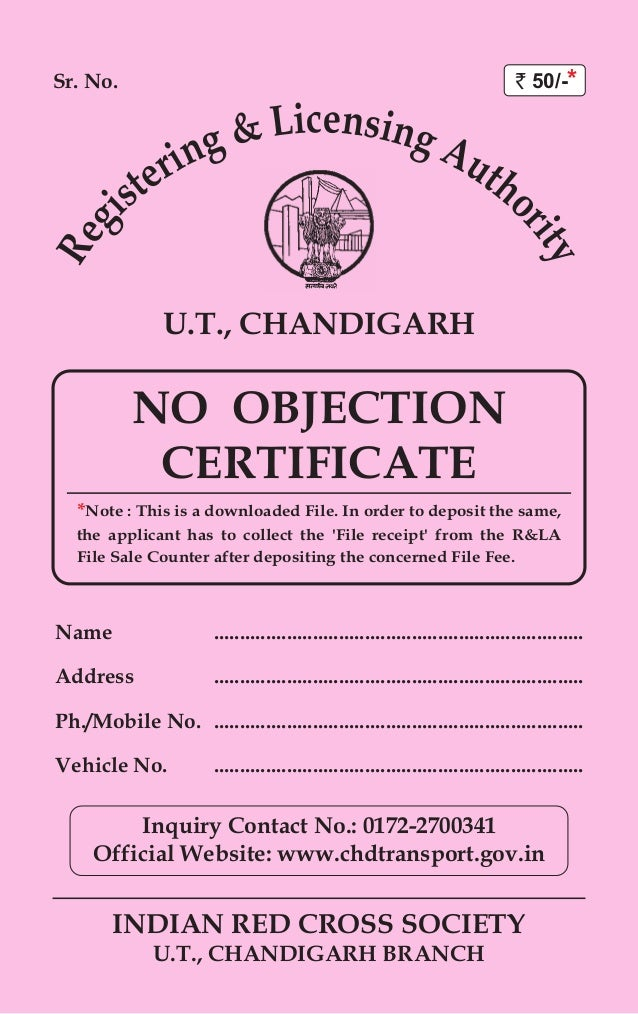 sr no indian red cross society ut chandigarh branch ut chandigarh name no objection certificate