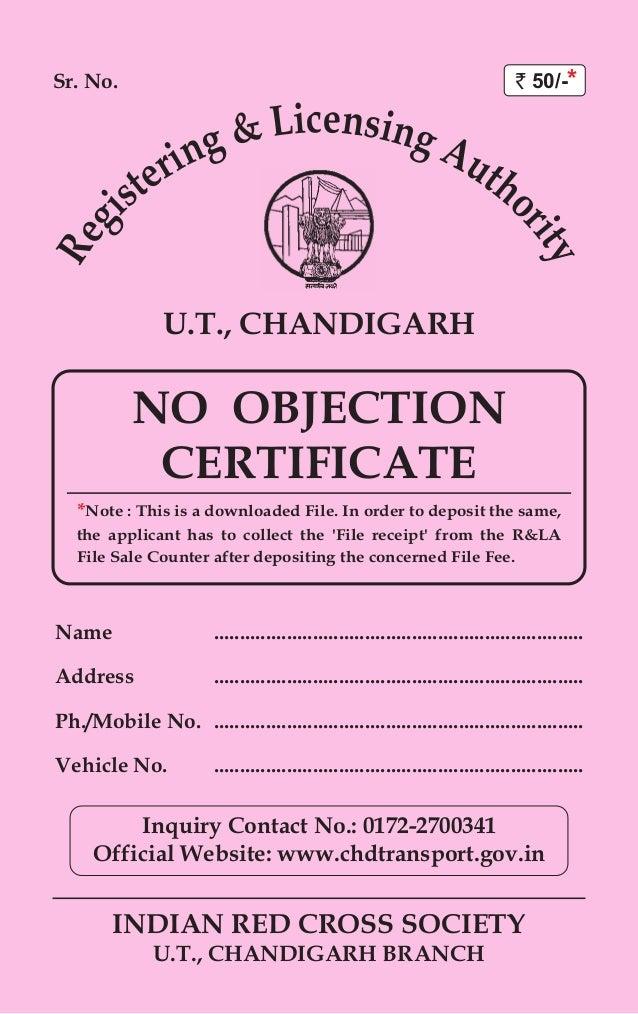 Sr. No. INDIAN RED CROSS SOCIETY U.T., CHANDIGARH BRANCH U.T., CHANDIGARH  Name NO OBJECTION CERTIFICATE ...  No Objections Certificate
