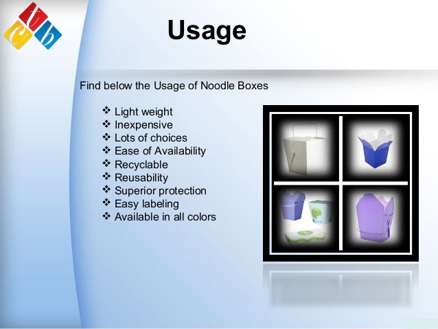 Usage Find below the Usage of Noodle Boxes  Light weight  Inexpensive  Lots of choices  Ease of Availability  Recycla...