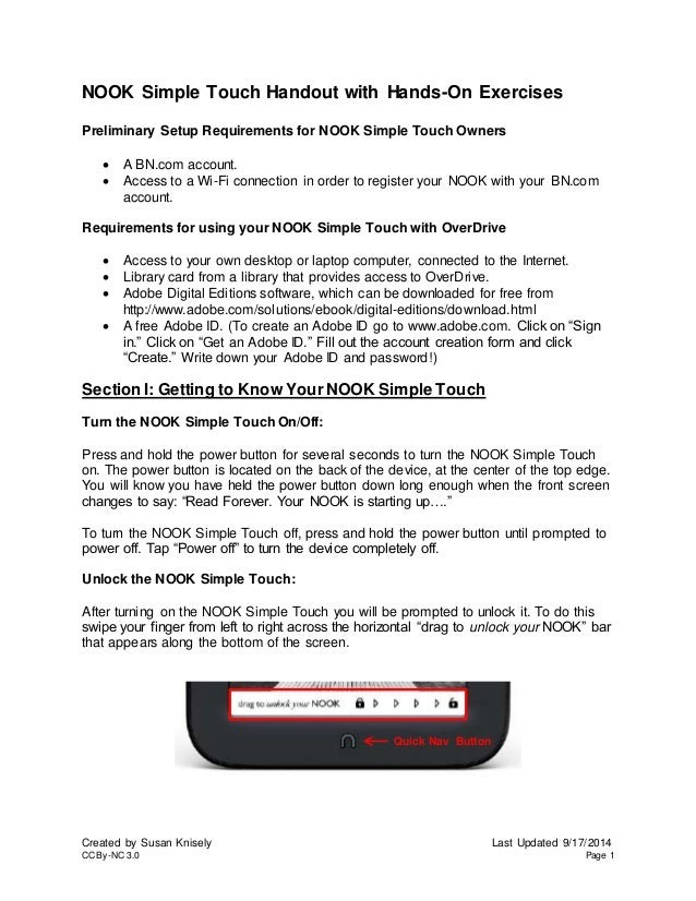 NOOK Simple Touch Handout with Hands-On Exercises  Preliminary Setup Requirements for NOOK Simple Touch Owners   A BN.com...