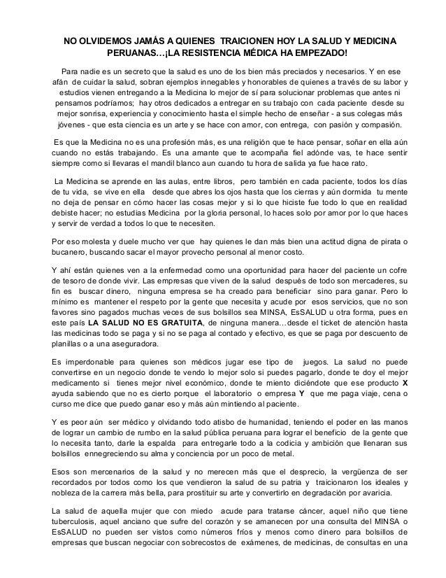NO OLVIDEMOS JAMÁS A QUIENES TRAICIONEN HOY LA SALUD Y MEDICINA PERUANAS…¡LA RESISTENCIA MÉDICA HA EMPEZADO! Para nadie es...