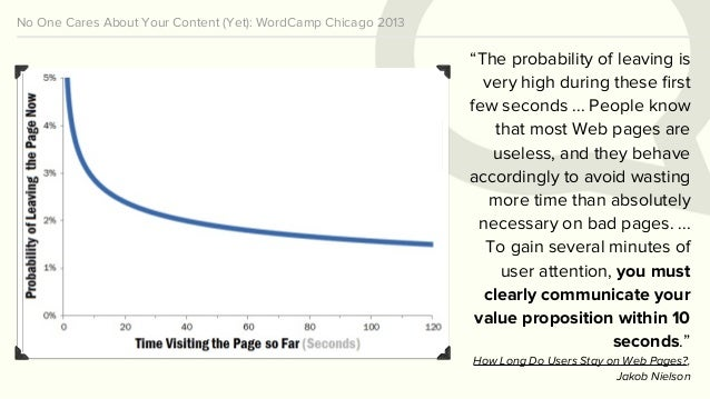 """No One Cares About Your Content (Yet): WordCamp Chicago 2013 """"The probability of leaving is very high during these first fe..."""