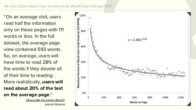 """No One Cares About Your Content (Yet): WordCamp Chicago 2013 """"On an average visit, users read half the information only on..."""